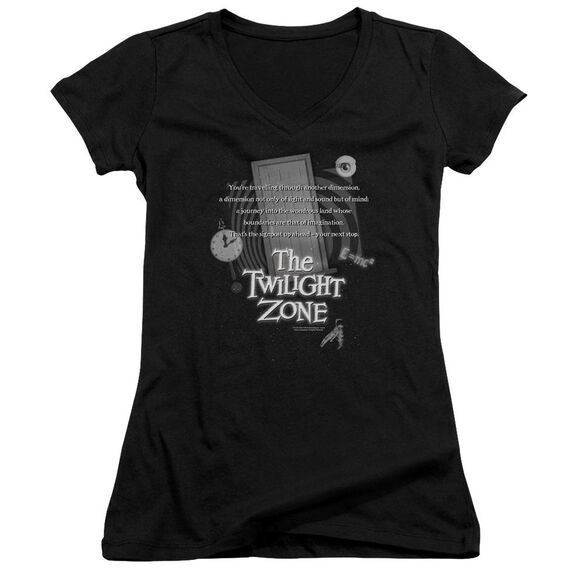 Twilight Zone Monologue - Junior V-neck - Black