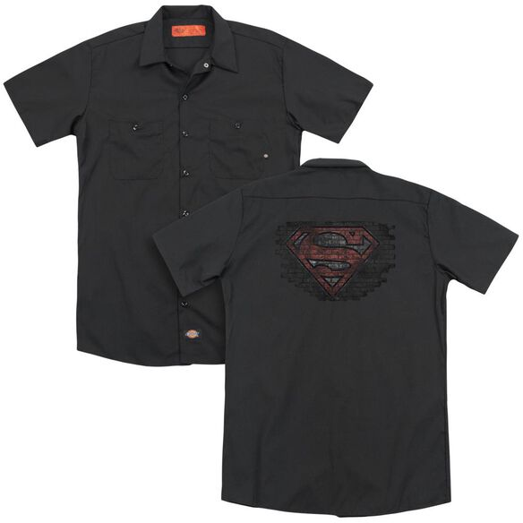 Superman Brick S (Back Print) Adult Work Shirt