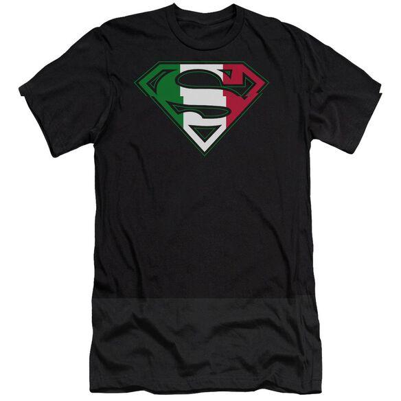 SUPERMAN ITALIAN SHIELD - S/S ADULT 30/1 - BLACK T-Shirt
