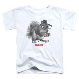 Rubik's Cube Nerd Squirrel Short Sleeve Toddler Tee White T-Shirt