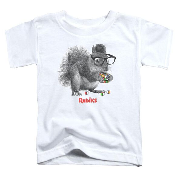 Rubik's Cube Nerd Squirrel Short Sleeve Toddler Tee White T-Shirt