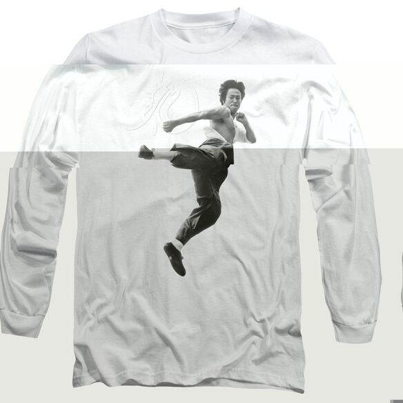 Bruce Lee Flying Kick Long Sleeve Adult T-Shirt