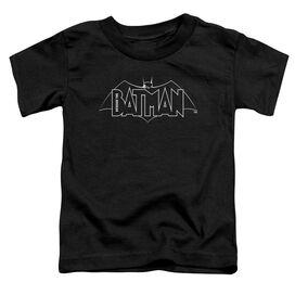 Beware The Batman B&W Logo Short Sleeve Toddler Tee Black T-Shirt