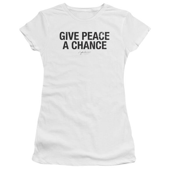 John Lennon Give Peace A Chance Short Sleeve Junior Sheer T-Shirt