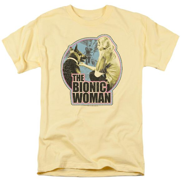 Bionic Woman Jamie And Max Short Sleeve Adult Banana T-Shirt