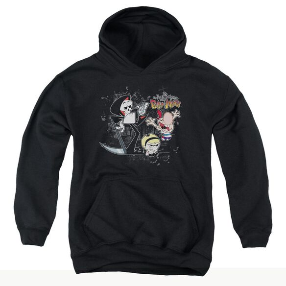 Billy & Mandy Splatter Cast-youth Pull-over Hoodie - Black