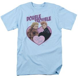 I Love Lucy Double Trouble Short Sleeve Adult Light Blue T-Shirt