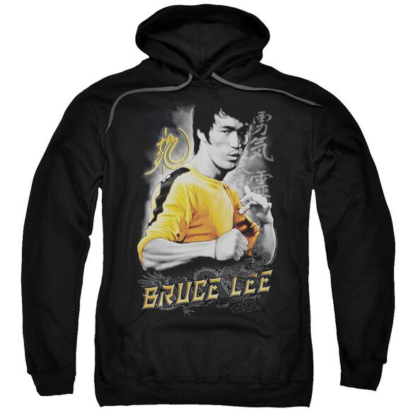 Bruce Lee Yellow Dragon Adult Pull Over Hoodie Black