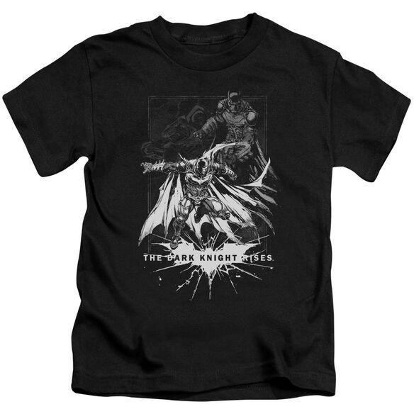 Dark Knight Rises Rising Sketch Short Sleeve Juvenile Black Md T-Shirt