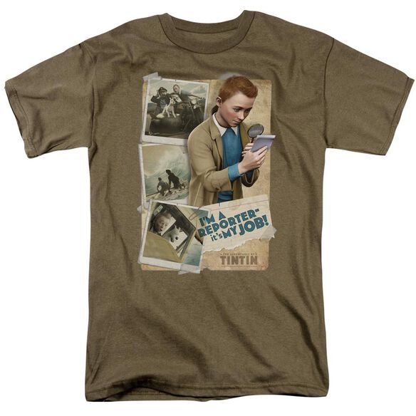 Tintin I'm A Reporter Short Sleeve Adult Safari Green T-Shirt
