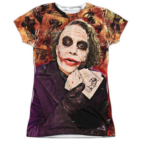 Dark Knight Jokers Wild Short Sleeve Junior Poly Crew T-Shirt