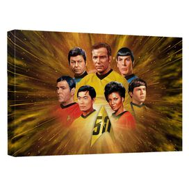 Star Trek 50 Th Crew Canvas Wall Art With Back Board