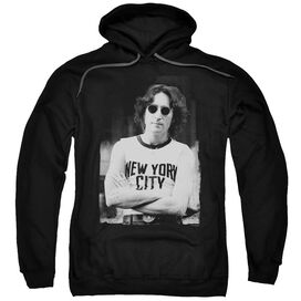 John Lennon New York Adult Pull Over Hoodie Black