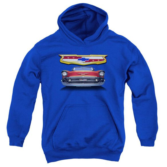 Chevrolet 1957 Bel Air Grille Youth Pull Over Hoodie Royal