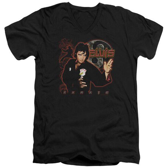 Elvis Karate Short Sleeve Adult V Neck T-Shirt