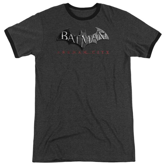 Arkham City Logo Adult Heather Ringer Charcoal