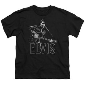 ELVIS PRESLEY GUITAR IN HAND - S/S YOUTH 18/1 - BLACK T-Shirt