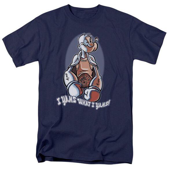 Popeye I Yams Short Sleeve Adult Navy T-Shirt