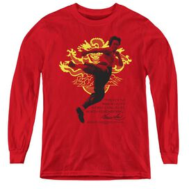 Bruce Lee Immortal Dragon - Youth Long Sleeve Tee - Red