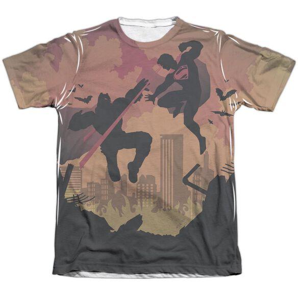 Batman V Superman Silhouette Fight Adult Poly Cotton Short Sleeve Tee T-Shirt