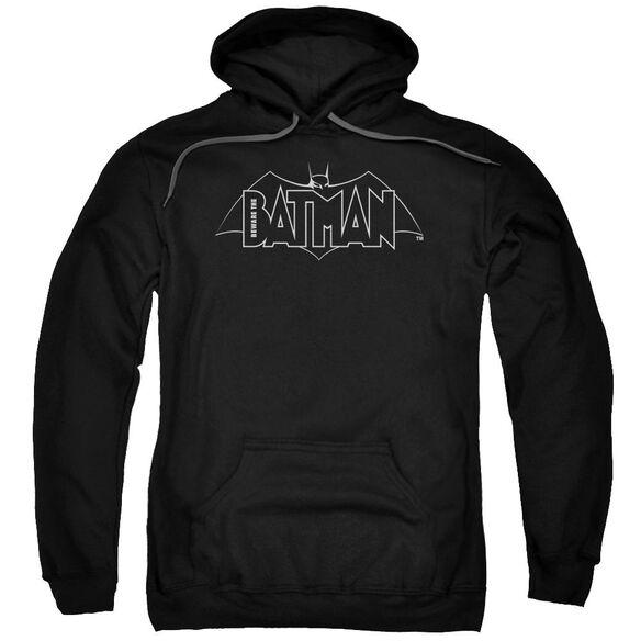 Beware The Batman B&W Logo Adult Pull Over Hoodie