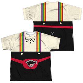 Uncle Grandpa Lederhosen (Front Back Print) Short Sleeve Youth Poly Crew T-Shirt