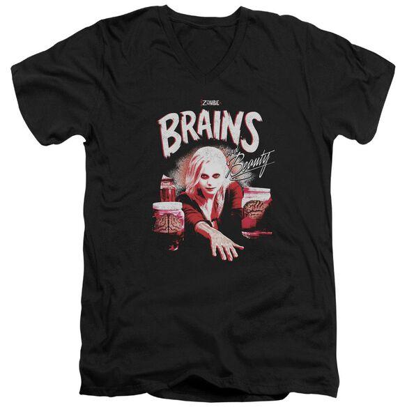Izombie Brains And Beauty Short Sleeve Adult V Neck T-Shirt