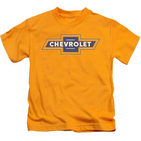 Chevrolet Blue And Gold Vintage Bowtie Short Sleeve Juvenile Gold T-Shirt