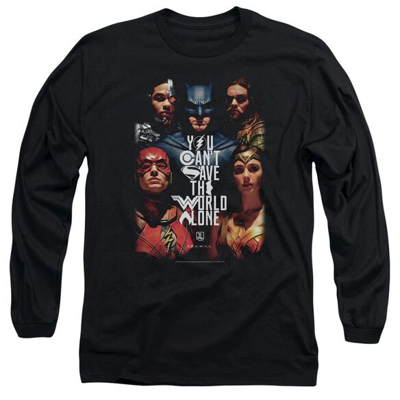 Justice League Movie Save The World Poster Long Sleeve Adult T-Shirt