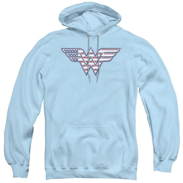 Dc Red,white & Blue - Adult Pull-over Hoodie - Light Blue