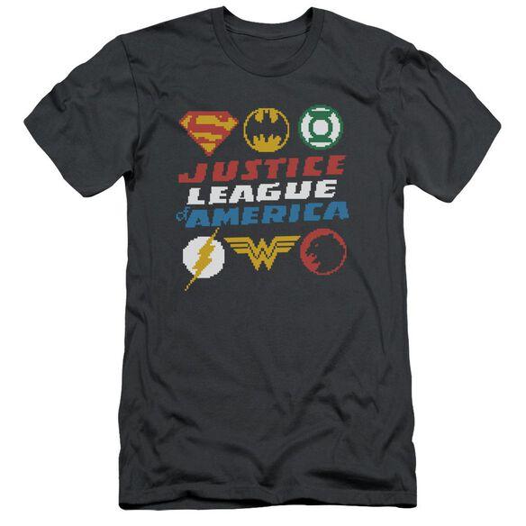 Jla Pixel Logos Short Sleeve Adult T-Shirt
