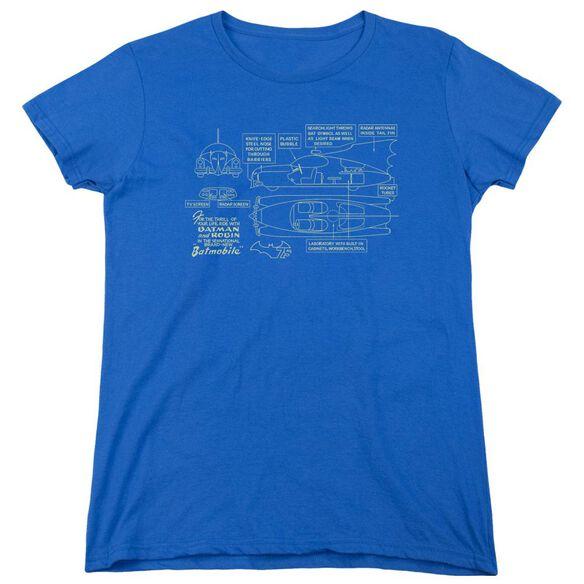 Batman Batmobile Short Sleeve Womens Tee Royal T-Shirt