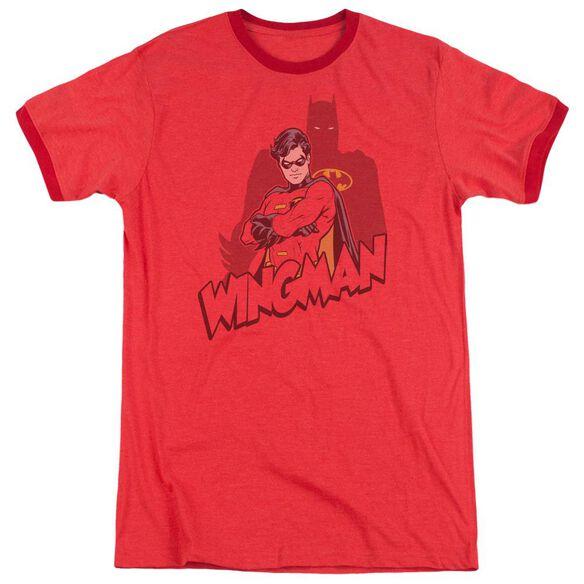 Batman Wingman - Adult Heather Ringer - Red