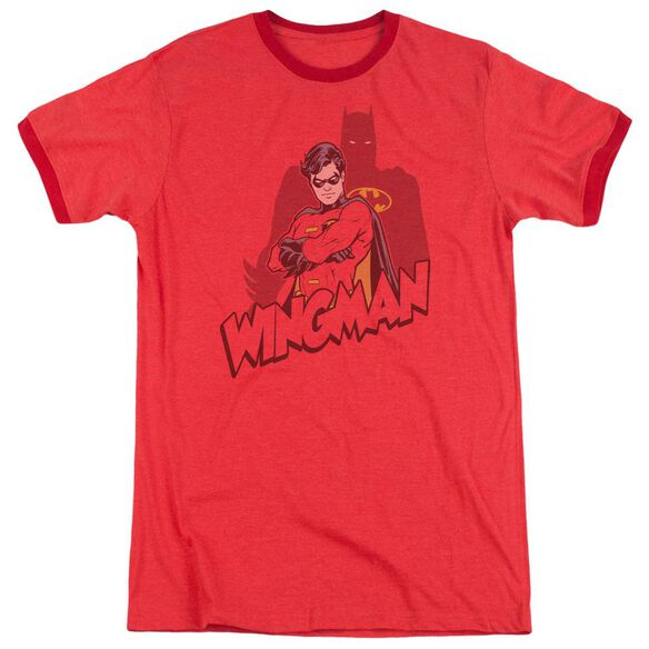 Batman Wingman Adult Heather Ringer Red