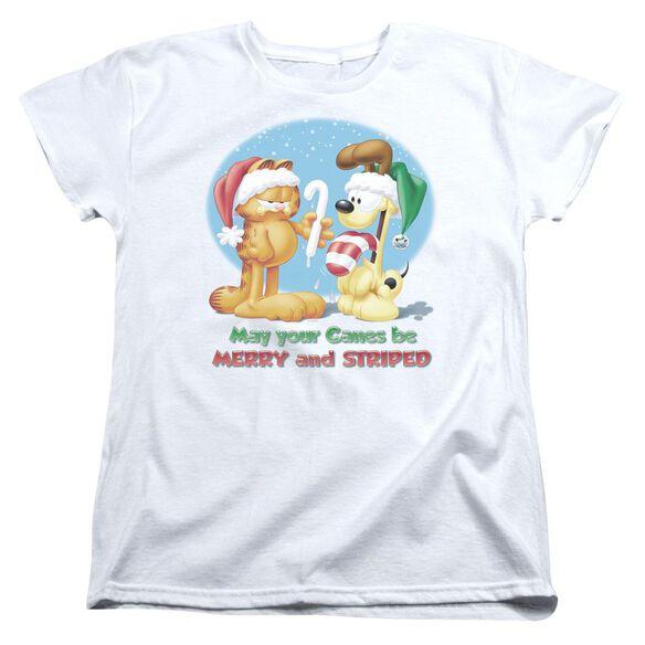 Garfield Merry And Striped Short Sleeve Womens Tee T-Shirt