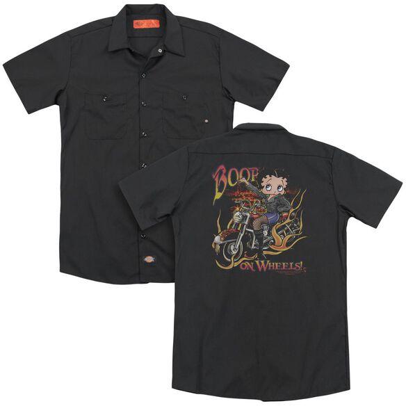 Betty Boop On Wheels (Back Print) Adult Work Shirt