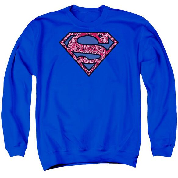 Superman Paisley Shield Adult Crewneck Sweatshirt Royal