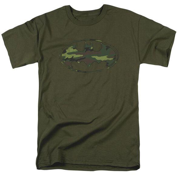 Batman Distressed Camo Shield Short Sleeve Adult Military Green T-Shirt