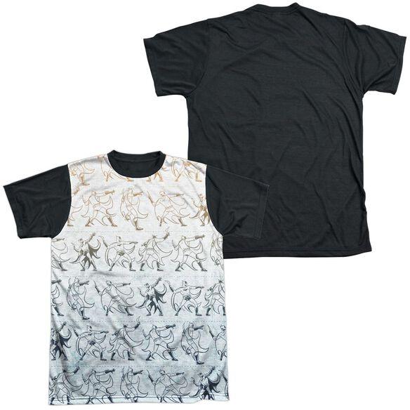 Batman Batarang Pattern Short Sleeve Adult Front Black Back T-Shirt