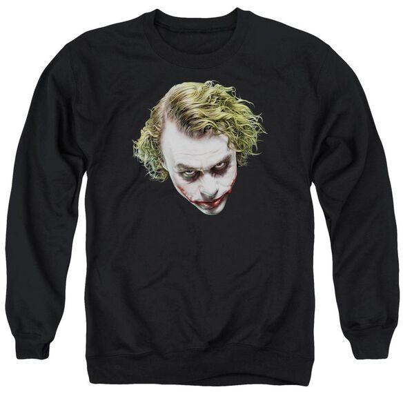 Dark Knight Painted Joker Head Adult Crewneck Sweatshirt