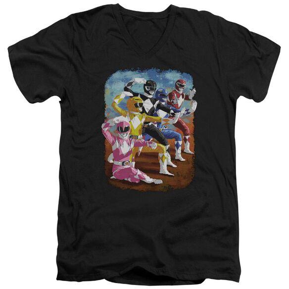 Power Rangers Impressionist Rangers Short Sleeve Adult V Neck T-Shirt