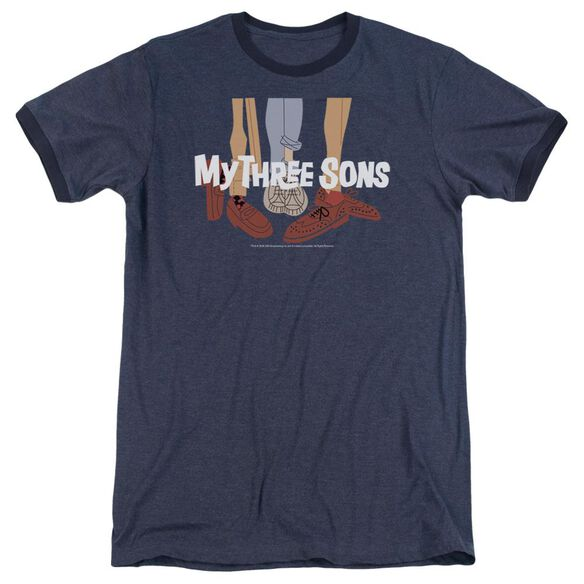 MY THREE SON HOES LOGO - ADULT HEATHER RINGER - NAVY T-Shirt
