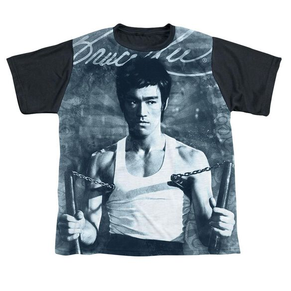 Bruce Lee Nunchucks Short Sleeve Youth Front Black Back T-Shirt