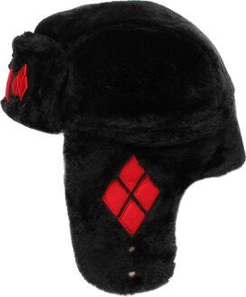 Harley Quinn Bat Logo Faux Fur Trapper Hat