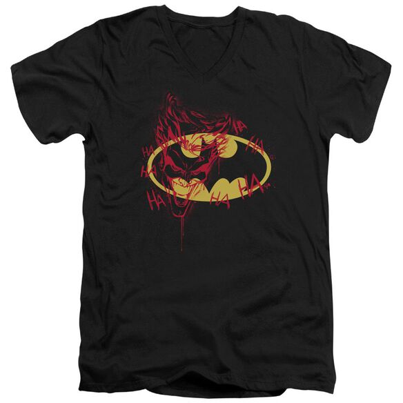 Batman Joker Graffiti Short Sleeve Adult V Neck T-Shirt