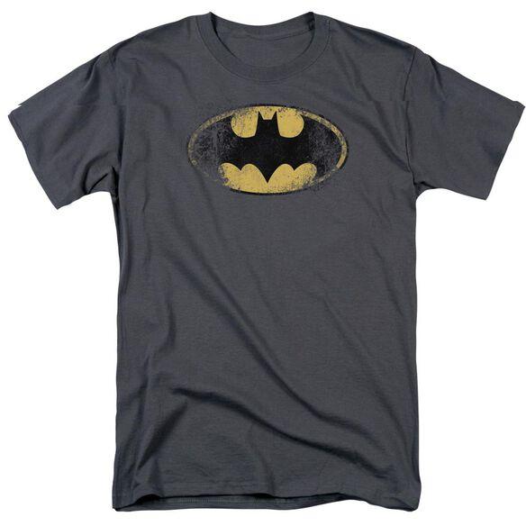 BATMAN DESTROYED LOGO - S/S ADULT 18/1 - PURPLE T-Shirt