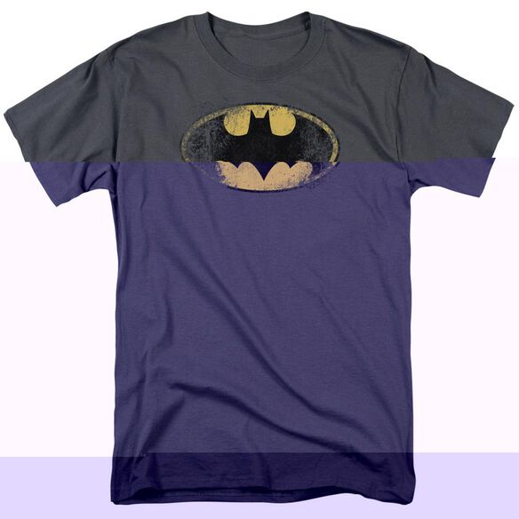 BATMAN DESTROYED LOGO - S/S ADULT 18/1 - ATHLETIC HEATHER T-Shirt