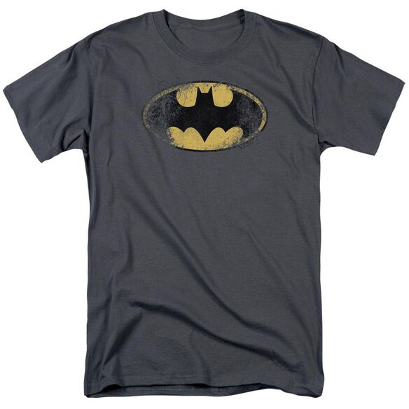 Batman Destroyed Logo Short Sleeve Adult Charcoal T-Shirt
