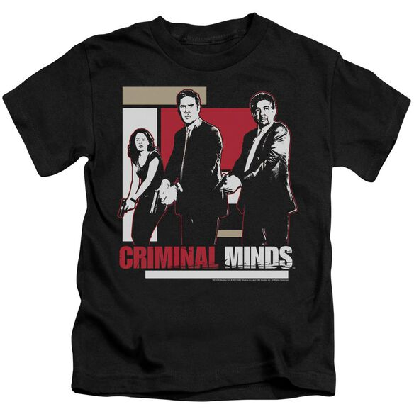 Criminal Minds Guns Drawn Short Sleeve Juvenile Black T-Shirt