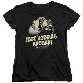 ABBOTT & COSTELLO HORSING AROUND - S/S WOMENS TEE - BLACK T-Shirt